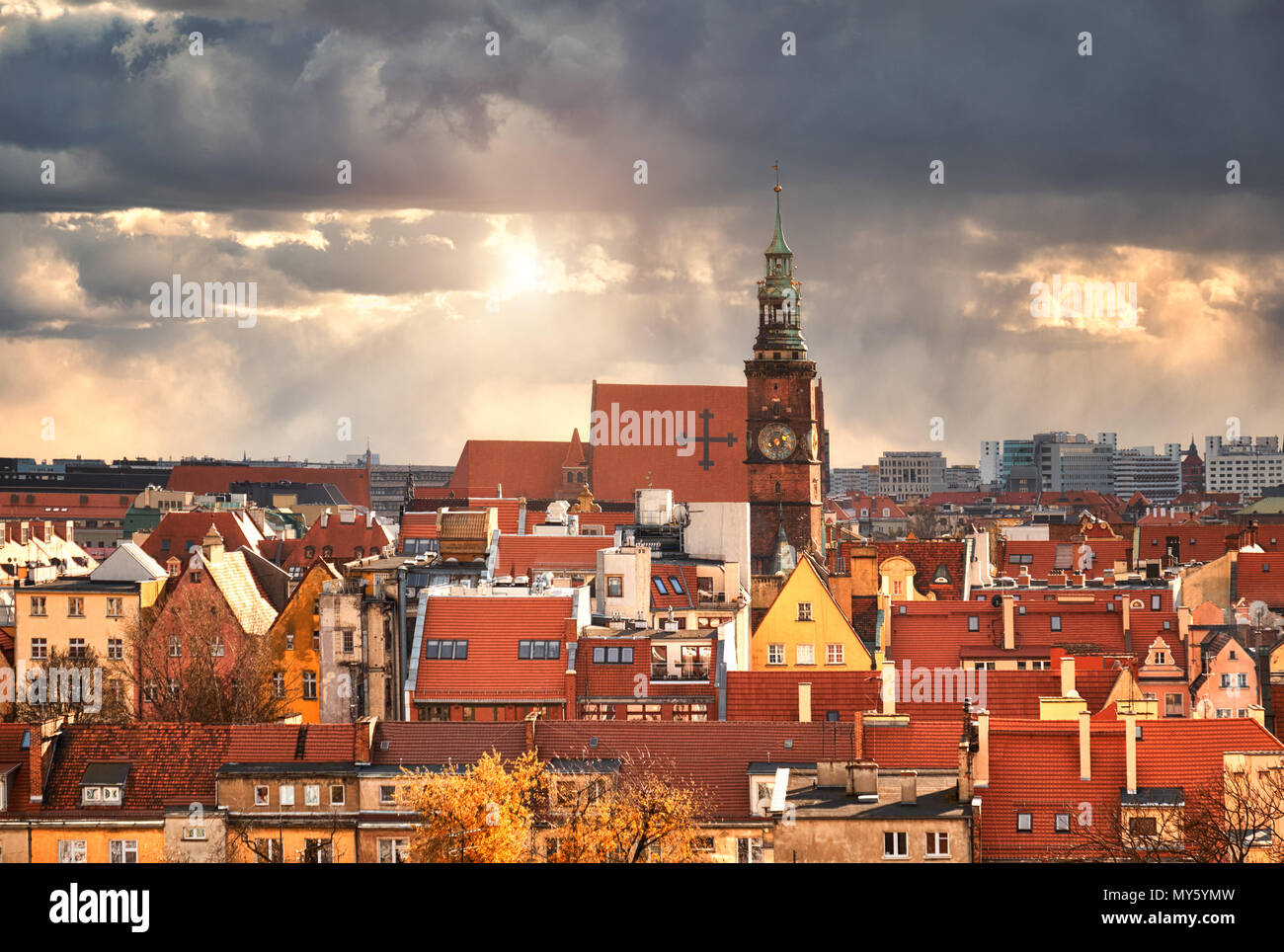Bird view from the mathematical tower over University of Wroclaw, historical capital of Lower Silesia, Poland, Europe. Stock Photo