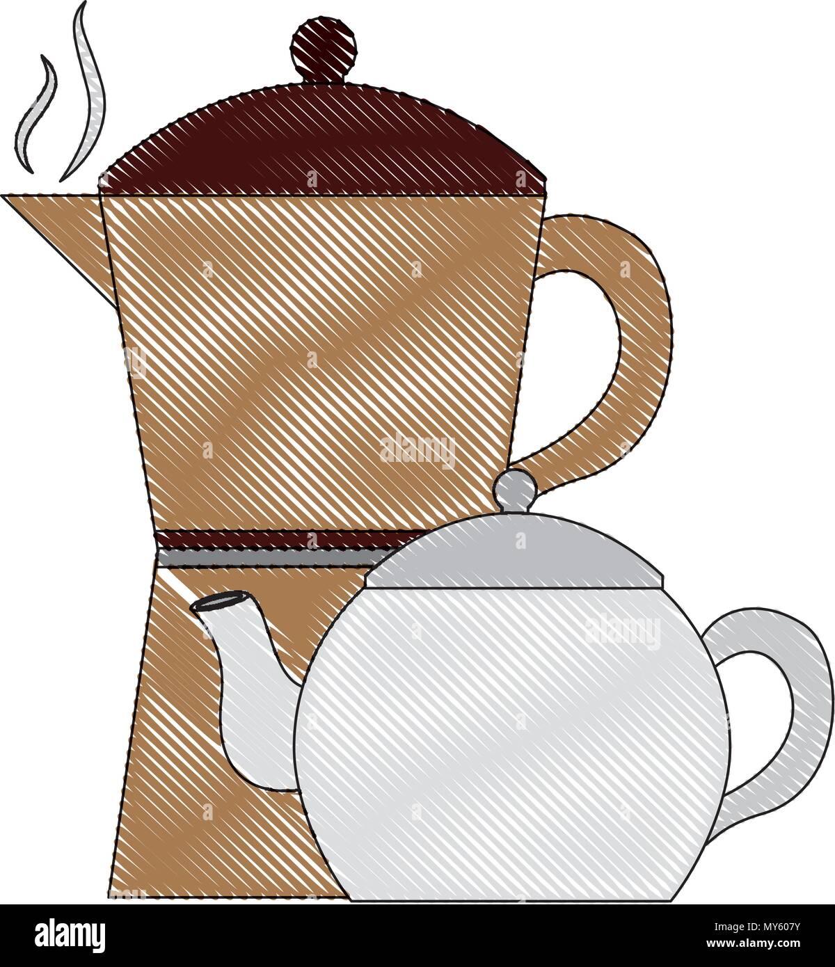 Coffee Maker And Tea Pot Ceramic Kitchen Supplies Vector