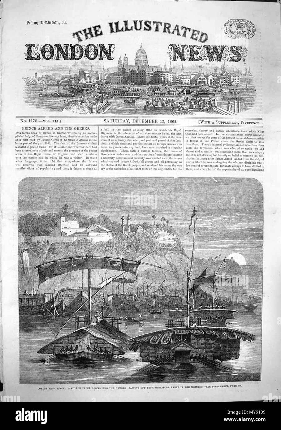. English: 'Cotton from India: a cotton convoy proceeding from Rewah towards the Ganges--night encampment under a banyan tree,' from the Illustrated London News, 1862; *a closer look at the cotton carts*; also: *'A cotton fleet descending the Ganges--casting off from Mirzapore early in the morning'*; also: *'The cotton famine'* Source: ebay, Oct. 2005 . 1862. Illustrated London News 17 A cotton fleet descending the Ganges--casting off from Mirzapore early in the morning Stock Photo