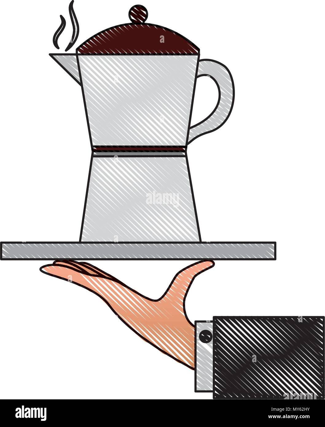 hand holding coffee maker on tray vector illustration drawing Stock ...