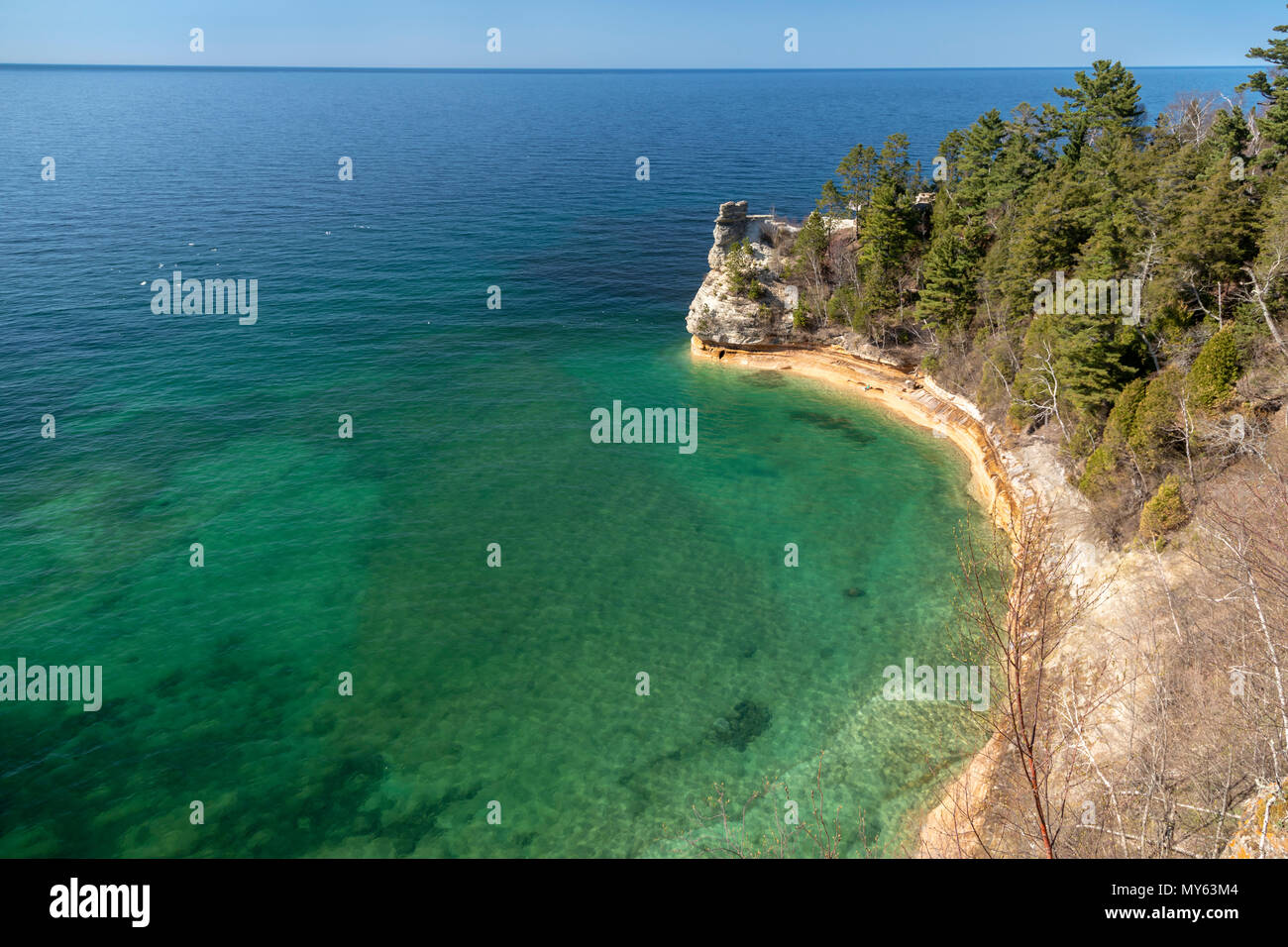 Munising, Michigan - Miners Castle on Lake Superior at Pictured Rocks National Lakeshore. - Stock Image