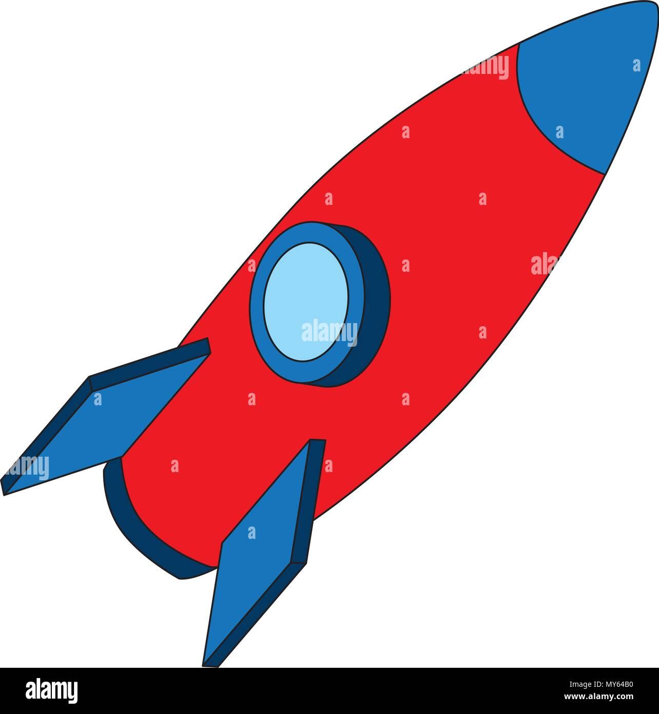 rocket space ship travel cartoon Stock Vector