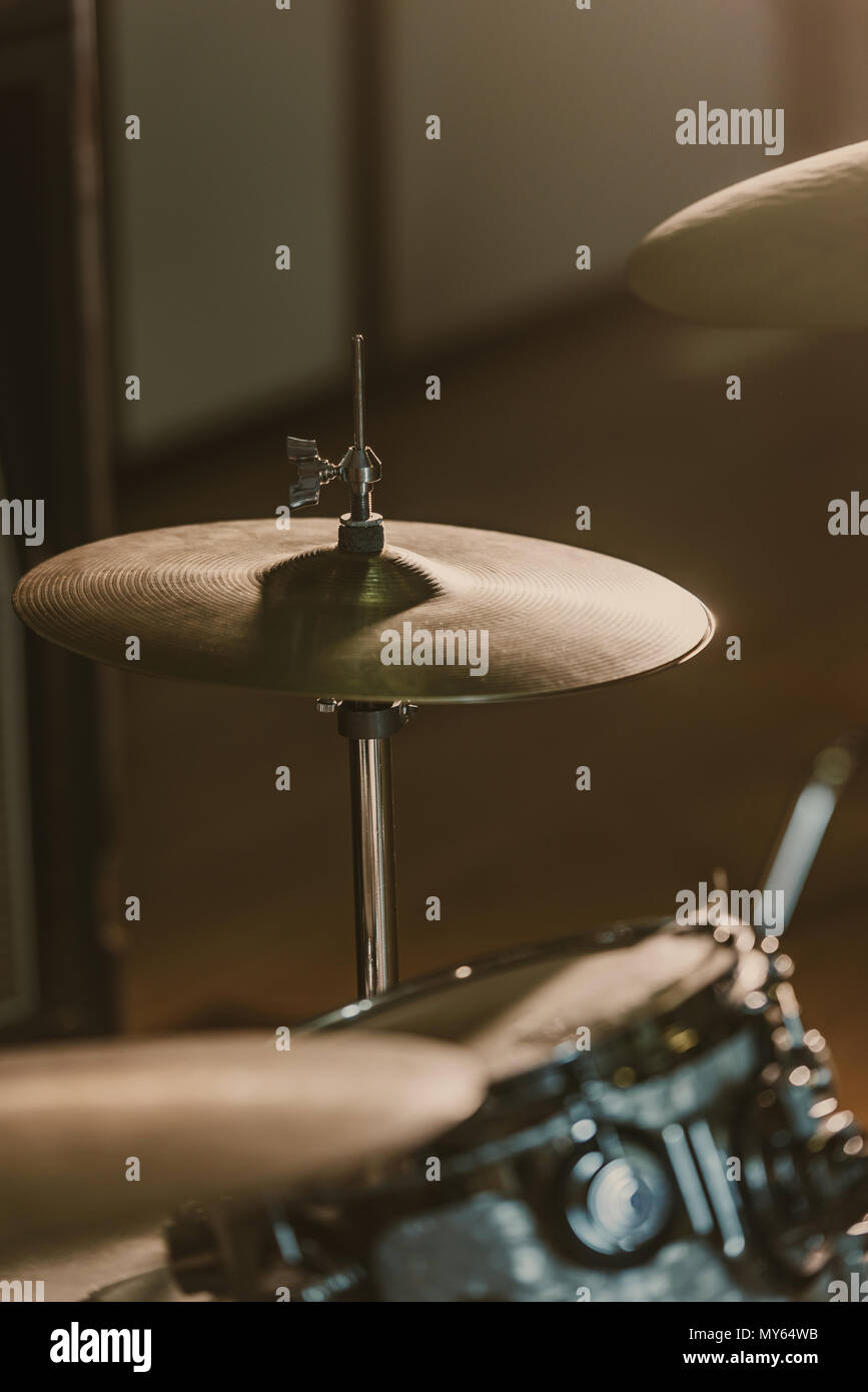 Cymbals On Drum Kit Stock Photos Images And White Diagram Of A Set Including High Hat Snare Close Up Shot Under Spotlight Stage Image