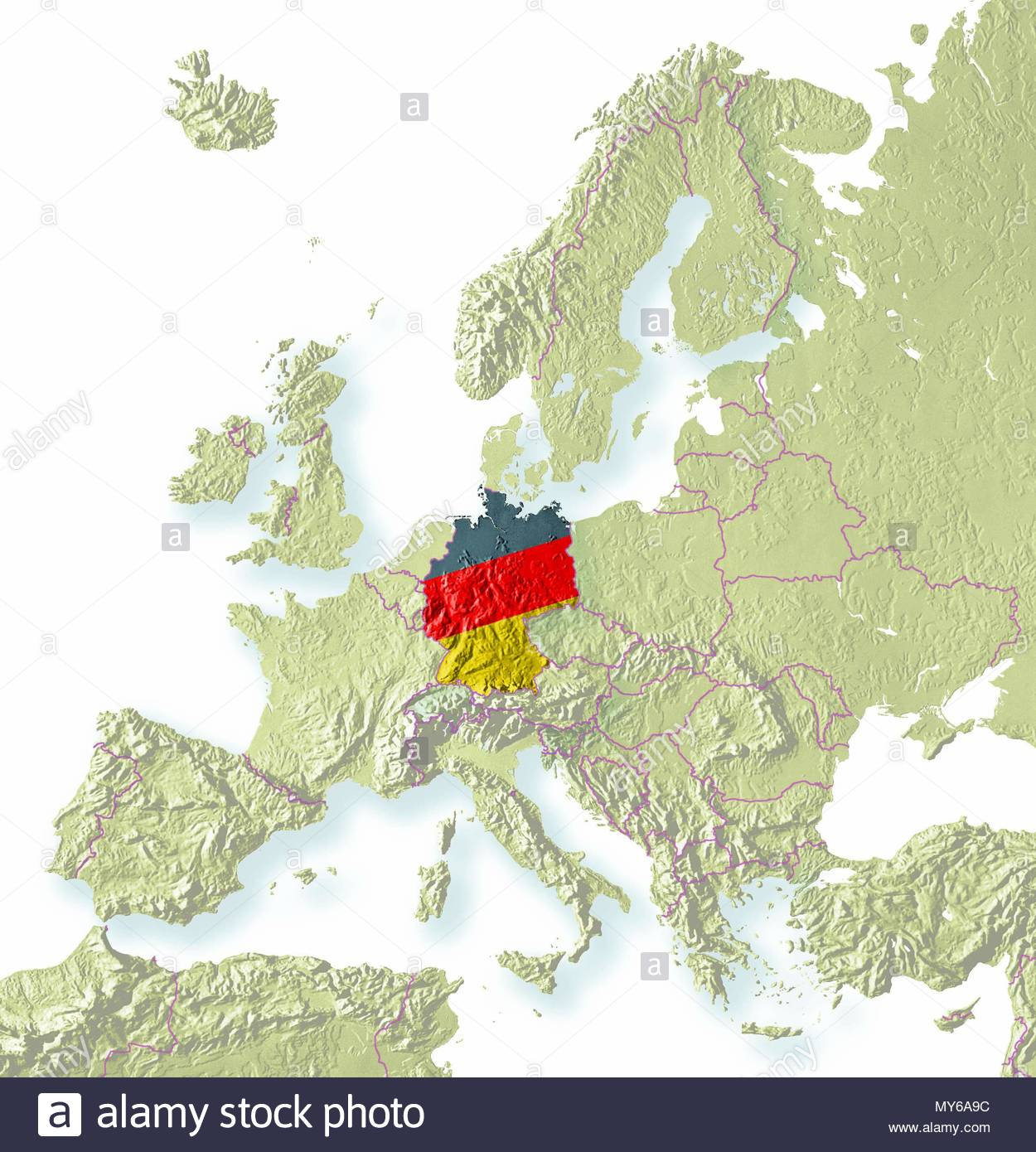 germany europe germany relief map germany colors stock image