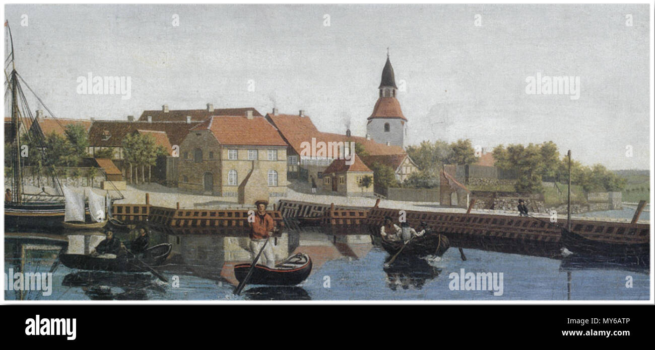 . English: The harbour of the Danish town Faaborg, showing among other buildings, the small brick pitch house close to the water in the center of the painting Norsk bokmål: Maleri som viser Faaborg havn, som bl.a. viser havnens 'kogehus' nær vannet i bildets sentrum . circa 1840. Unknown 173 Faaborg harbour around 1840 - Stock Image