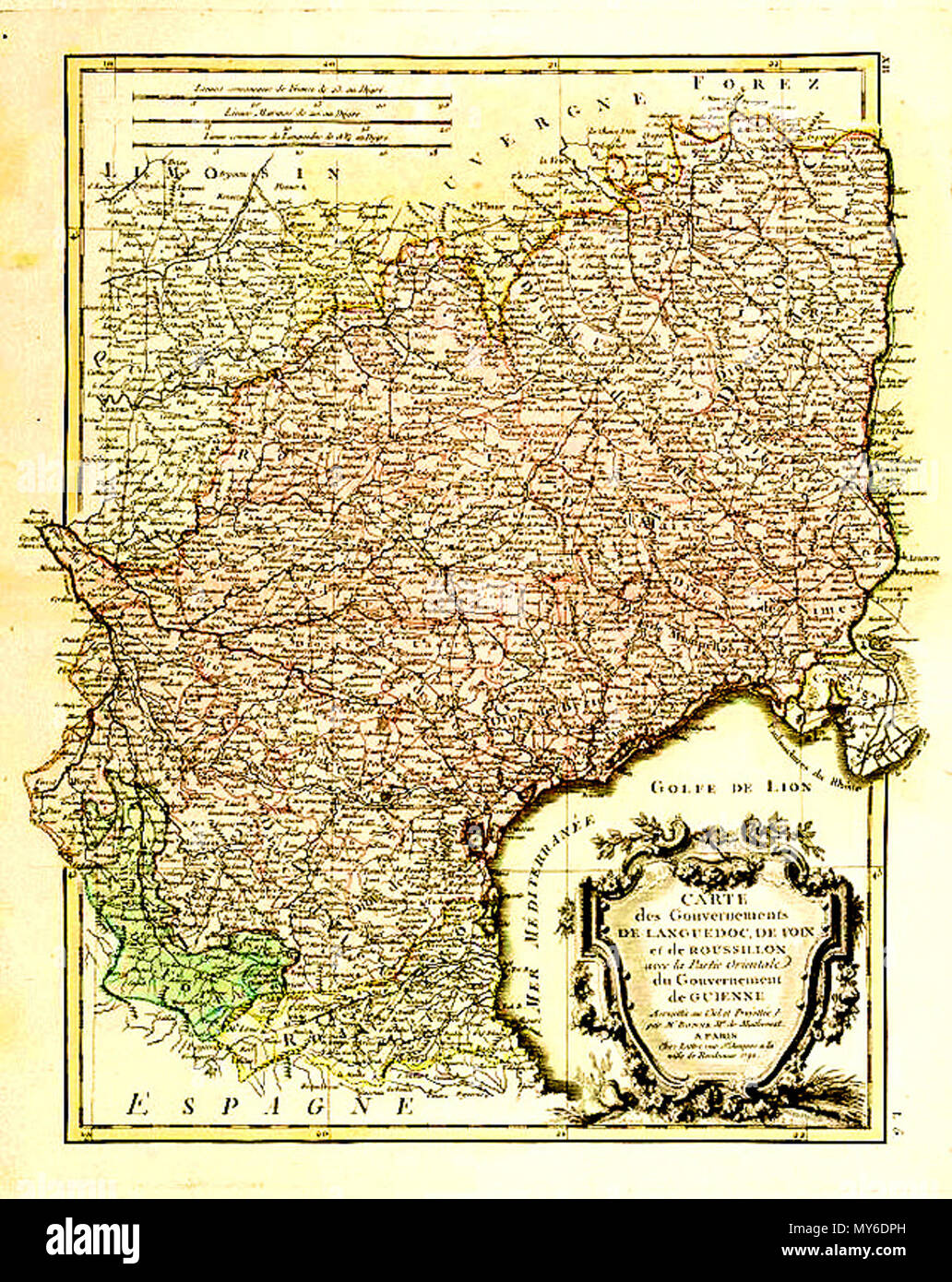 . Français : Carte des gouvernements du Languedoc-Roussillon par Rigobert Bonne (1727-1795 ), Paris, vers 1783 . 28 April 2012. Rigobert Bonne (1727-1795 ), Paris, vers 1783 100 Carte des Gouvernements de Languedoc.. Roussillon - Stock Image