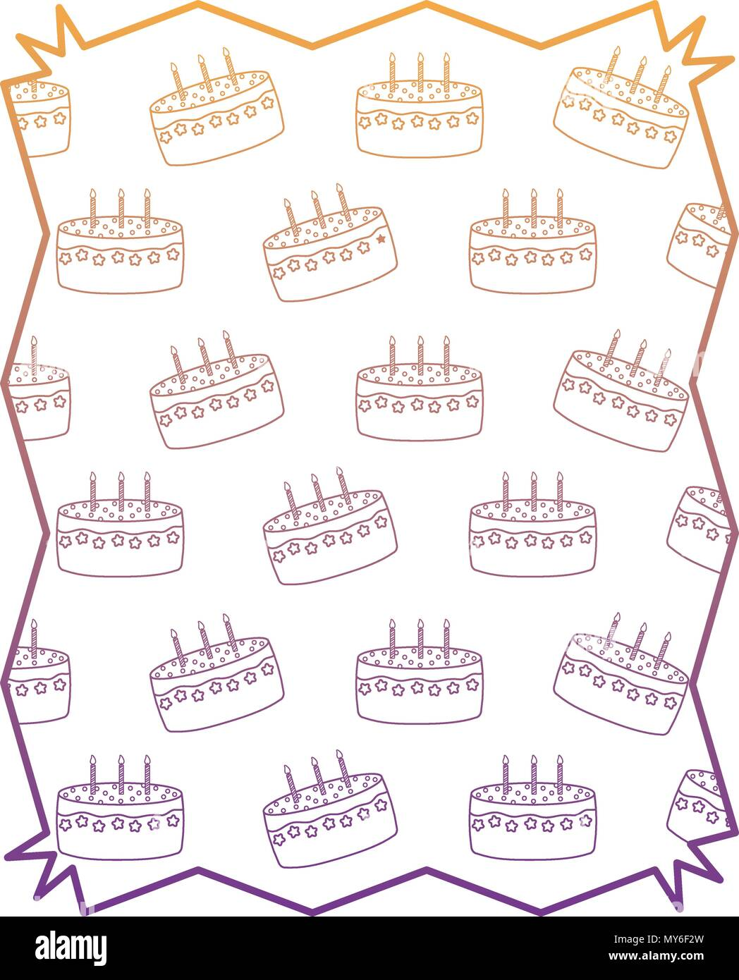 abstract frame with Birthday cake pattern over white background ...