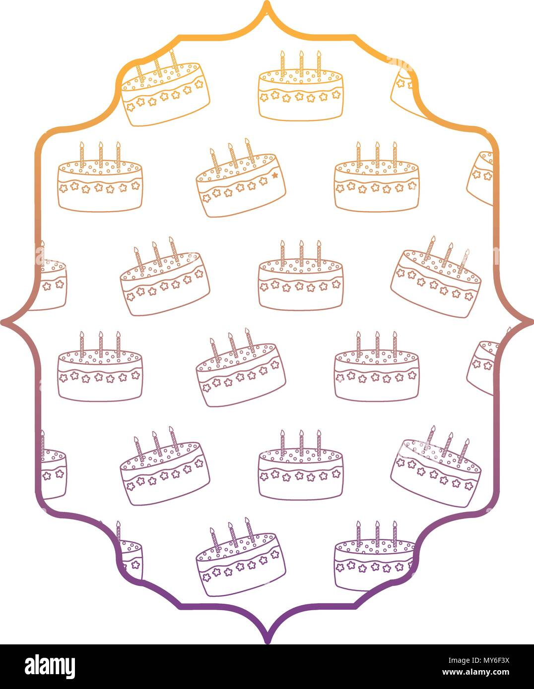 Arabic Frame With Birthday Cake Pattern Over White Background Vector Illustration