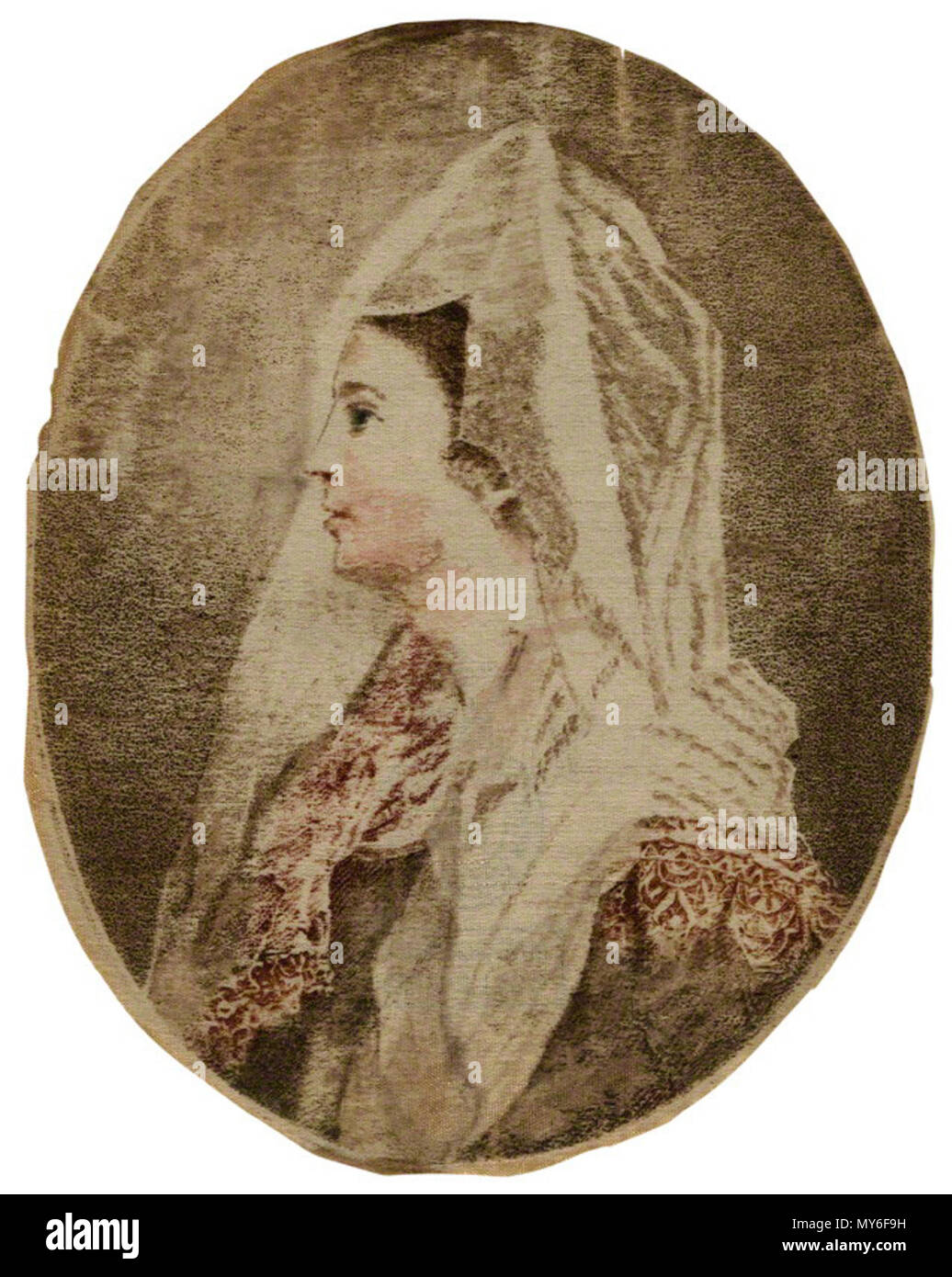 . English: Ann Cargill (née Brown) as Clara in 'The Duenna' probably published by J. Walker, after Matthew William Peters hand-coloured stipple engraving on silk, 1780? 3 7/8 in. x 3 1/8 in. (100 mm x 79 mm) paper size Purchased, 1966 Reference Collection NPG D21566 . 14 December 2013, 15:07:45. probably published by J. Walker, after Matthew William Peters 41 Ann cargill mw114486 - Stock Image
