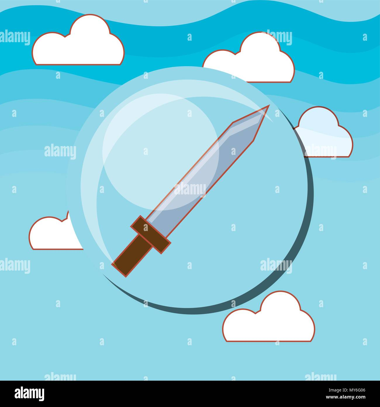 sword icon over sky background, colorful design. vector illustration - Stock Vector