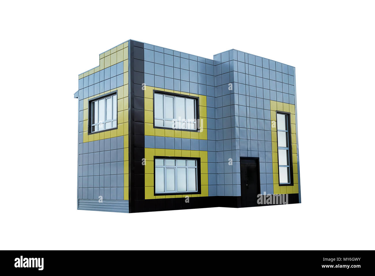 Empty office building on a business park isolated on a white background shop commercial building two story two floor double deck
