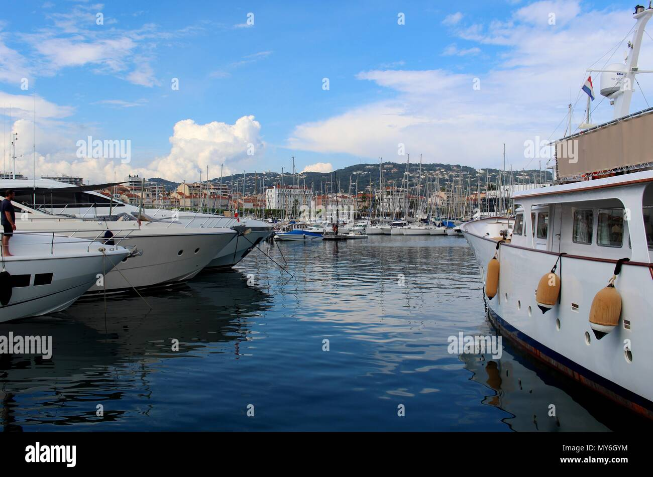 Cannes' Port represents the oldest part of the city. Stock Photo