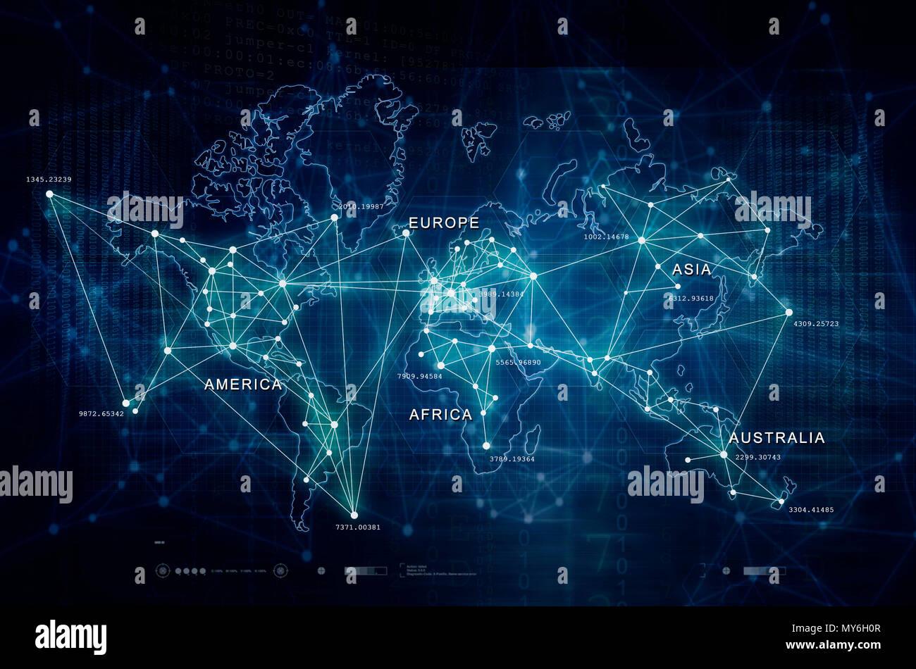Internet Of Things Digital World Map Stock Photo 188844455 Alamy