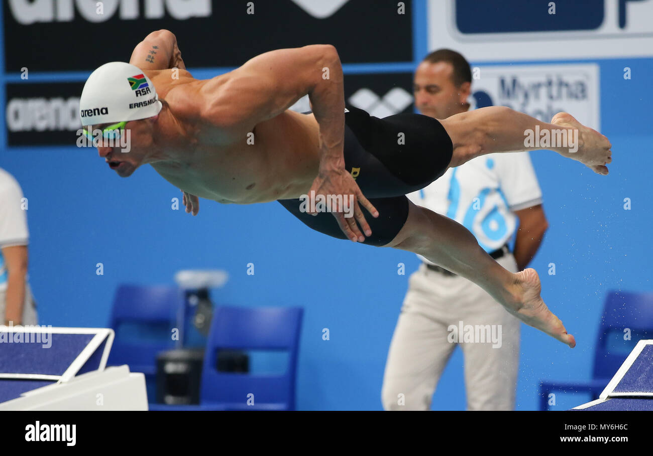 BUDAPEST, HUNGARY - JULY 23: Douglas Erasmus of South Africa in the heats of the mens 50m butterfly during day 10 of the FINA World Championships at Duna Arena on July 23, 2017 in Budapest, Hungary. (Photo by Roger Sedres/ImageSA) - Stock Image