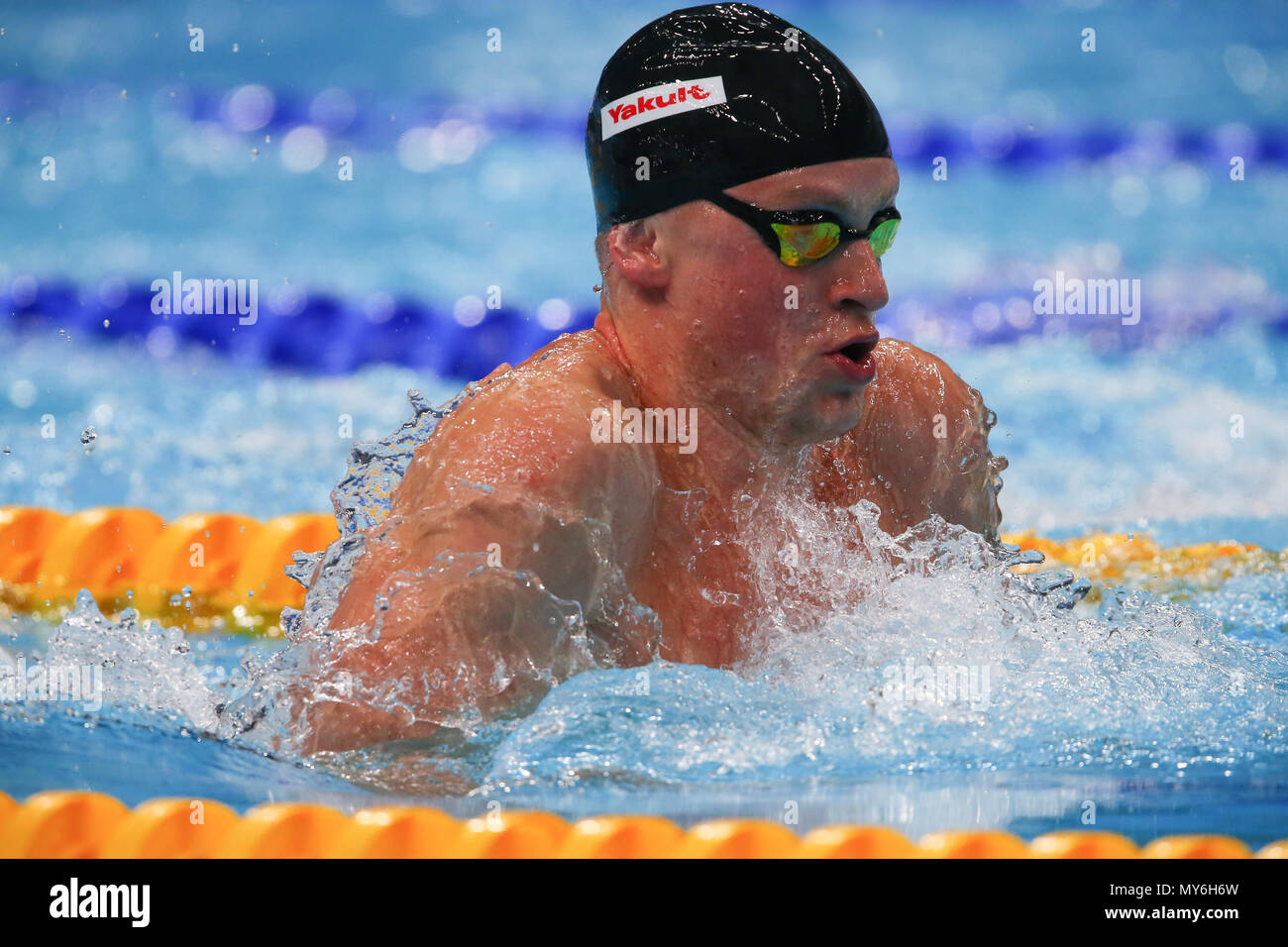 BUDAPEST, HUNGARY - JULY 23: Adam Peaty of Great Britain in the heats of the mens 100m breaststroke during day 10 of the FINA World Championships at Duna Arena on July 23, 2017 in Budapest, Hungary. (Photo by Roger Sedres/ImageSA) - Stock Image