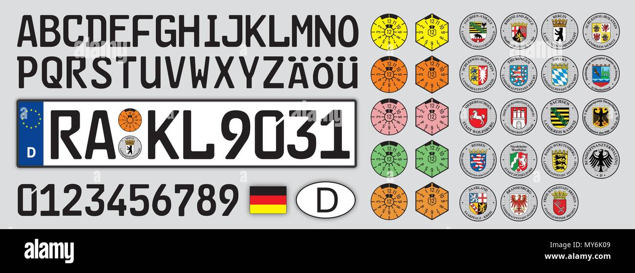 Germany Plate Car Style With Numbers Letters And Symbols Stock