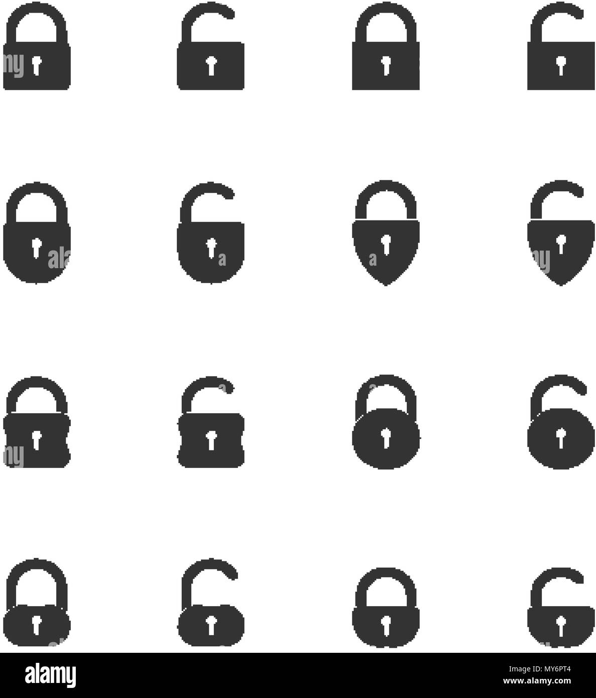 Set of black closed and opened lock icons - Stock Image