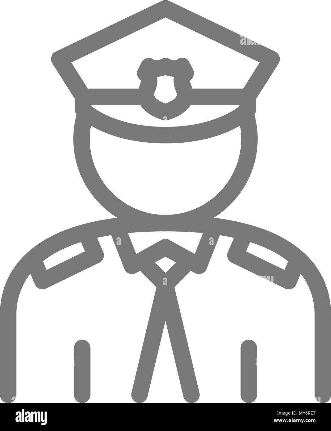 Simple police, officer, cop line icon. Symbol and sign vector illustration design. Isolated on white background - Stock Image
