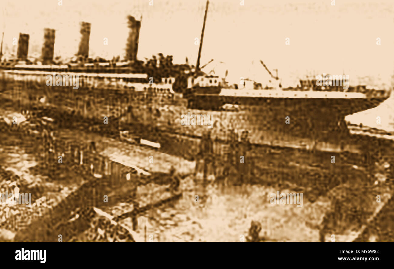 An interesting amateur photograph taken in 1911 showing the launch of the ill fated RMS TITANIC - Stock Image
