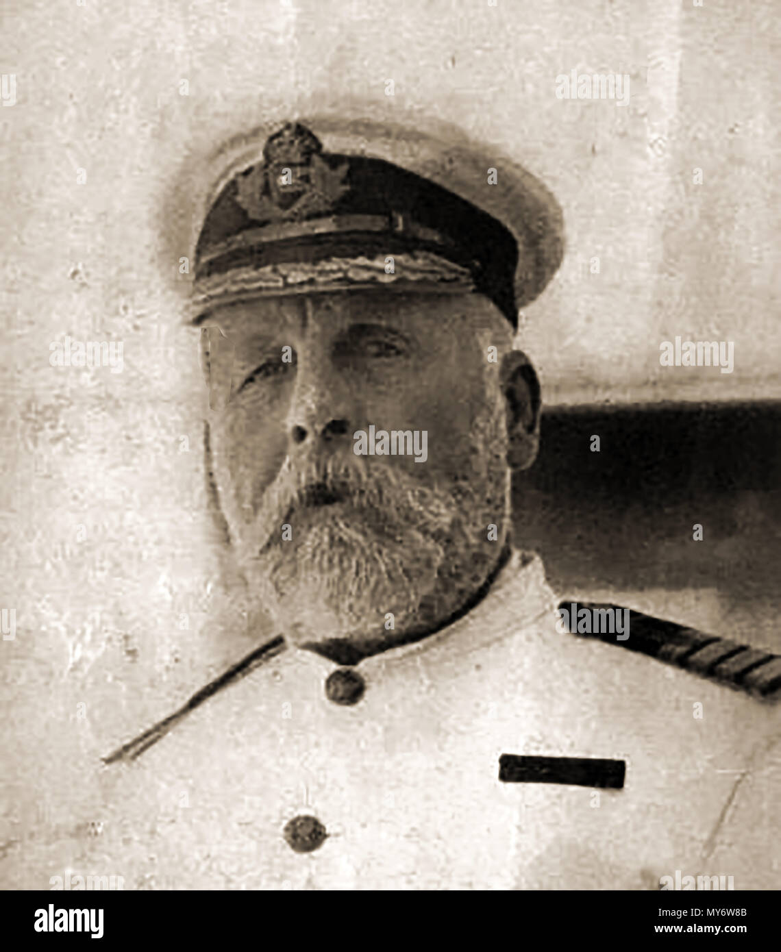 TITANIC - 1912 - Portrait of Edward John Smith, Captain of the Titanic who went down with his ship on 15 April 1912, - Stock Image