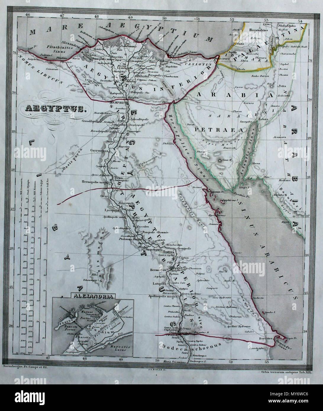 . English: Egypt from Orgis Terrarum Antiquus 1861 . 24 October 2013, 16:49:41.  Orbis terrarum antiquus 1861 24 Aegyptus from Orbis terrarum antiquus 1861 - Stock Image