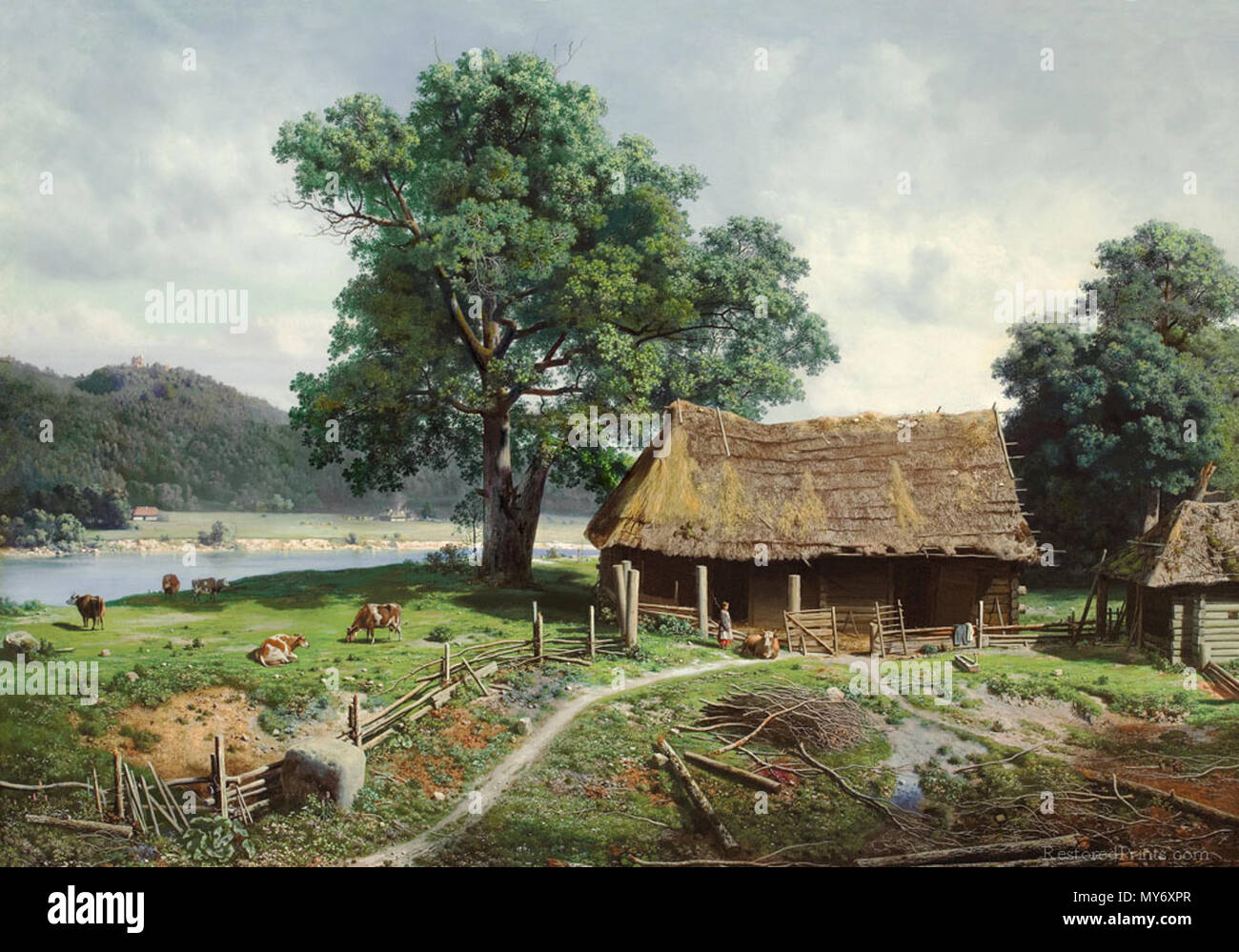 .  English: A view of the River Gauja from the estate of Zegevald, Latvia. The painting that led to the creation of the Russian art group called 'The Wanderers' or 'The Itinerants'. . 1 June 1858 363 Mikhail Konstantinovich Klodt - Riverside Farmstead, 1858 - Stock Image