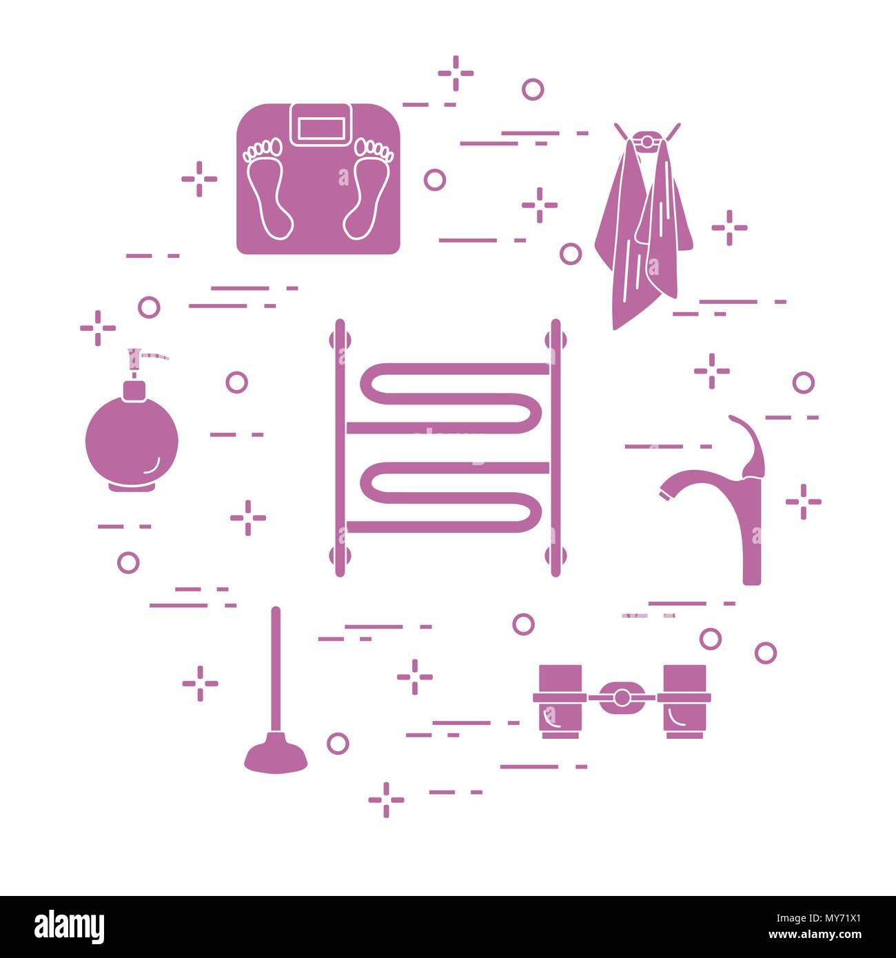 Bathroom elements: scales, towel warmer, faucet, plunger, glasses ...