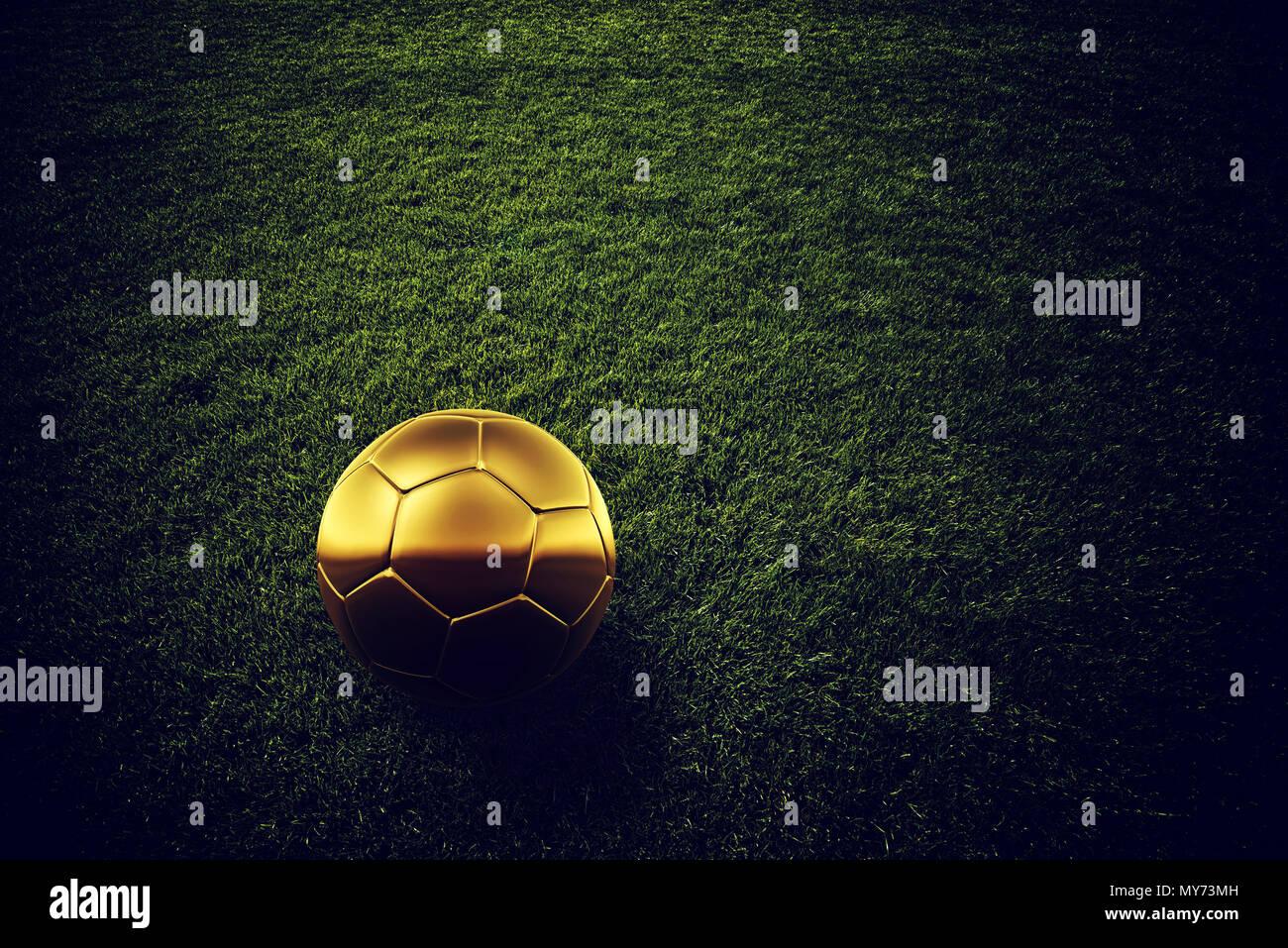 5f5322dd9 Golden soccer ball on football pitch grass, 3d rendering illustration