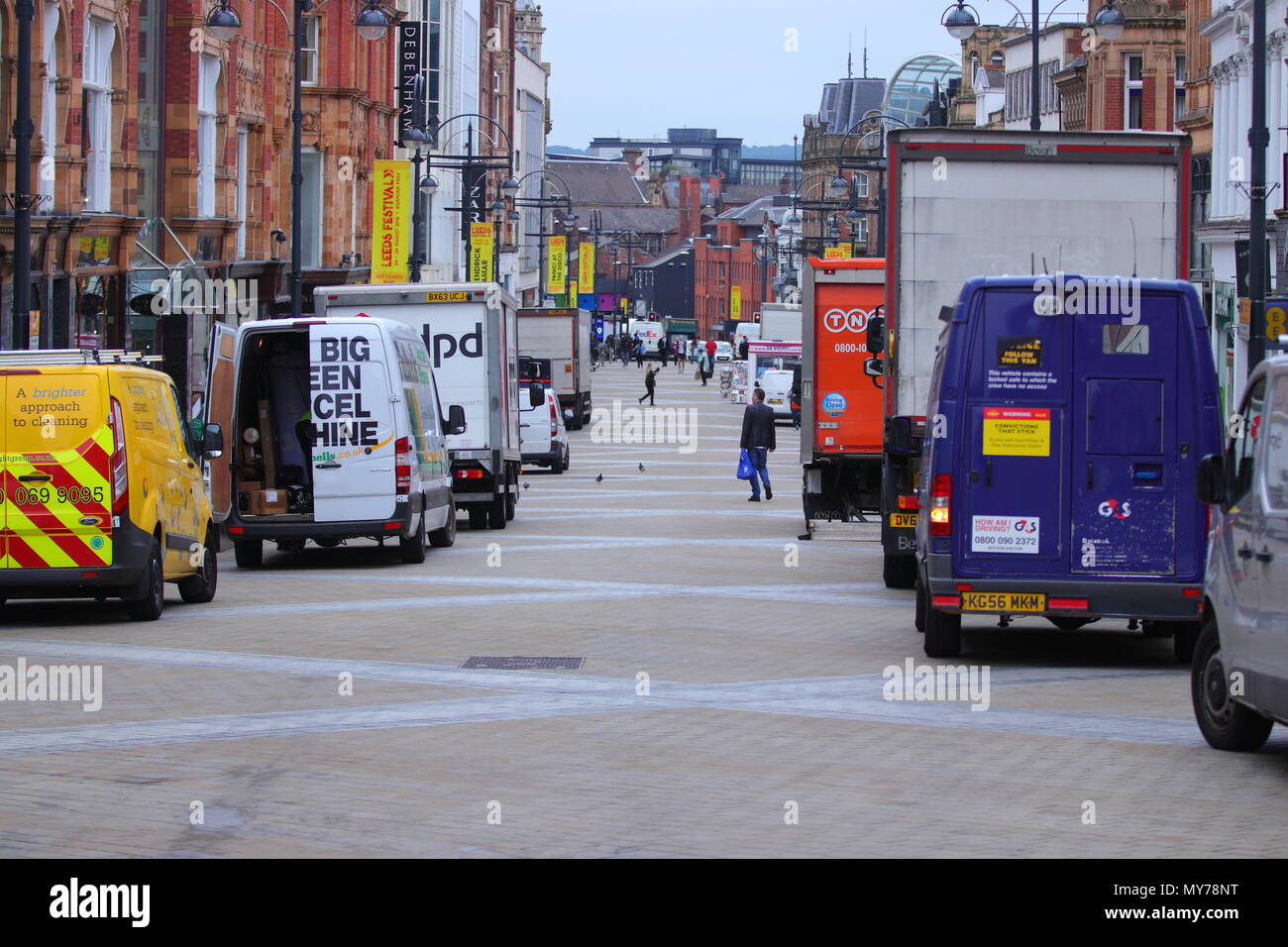 Pedestrianized zone on Briggate in Leeds - Stock Image