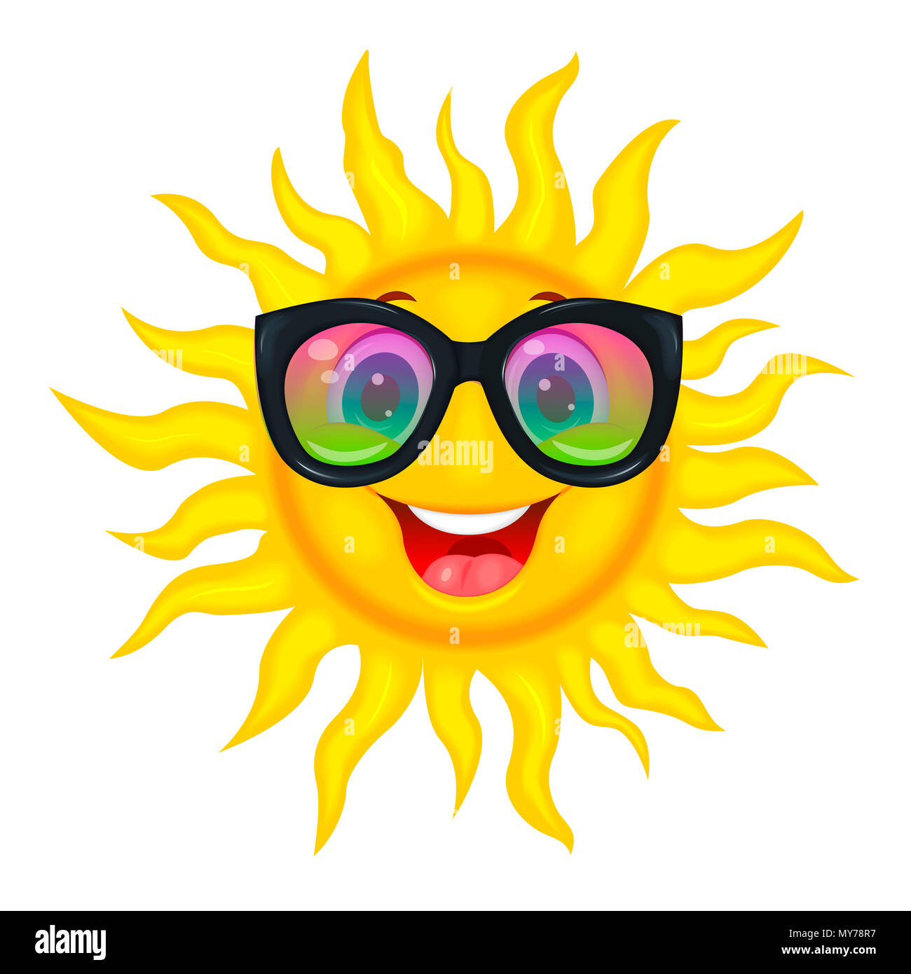 A merry cartoon sun in protective glasses from the sun. A cheerful cartoon sun on a white background. - Stock Image