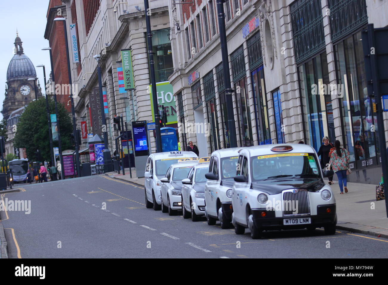 Leeds Black and White cabs - Stock Image