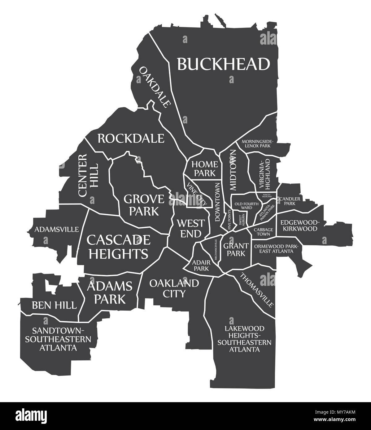 Atlanta Georgia city map USA labelled black illustration Stock ...