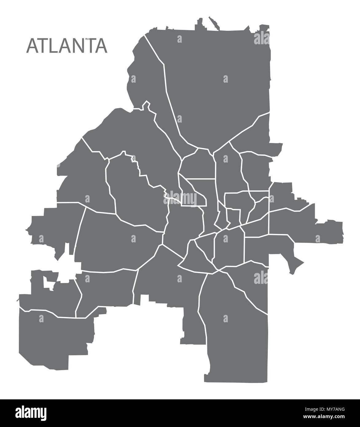 Atlanta Georgia City Map With Neighborhoods Grey Illustration