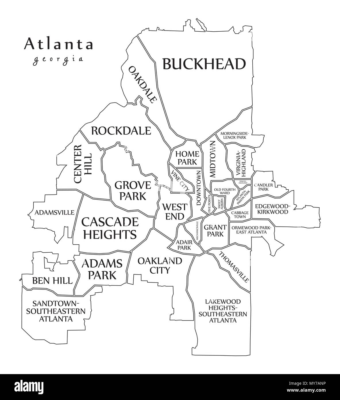 Picture of: Modern City Map Atlanta Georgia City Of The Usa With Neighborhoods And Titles Outline Map Stock Vector Image Art Alamy
