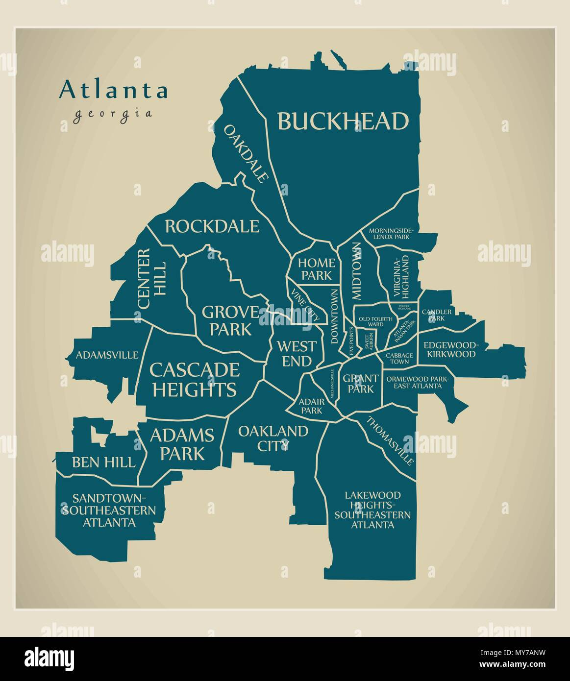 Picture of: Modern City Map Atlanta Georgia City Of The Usa With Neighborhoods And Titles Stock Vector Image Art Alamy