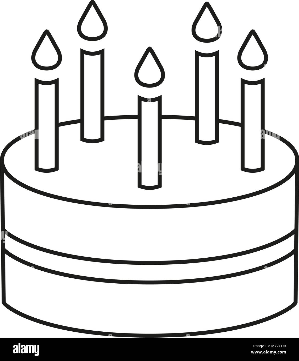 Line Art Black And White Birthday Cake 5 Candles Stock Vector Art