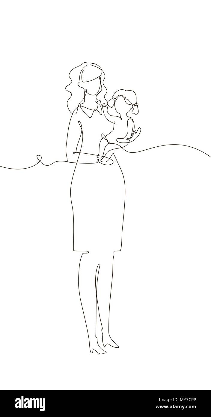 Mother with a child - one line design style illustration - Stock Vector