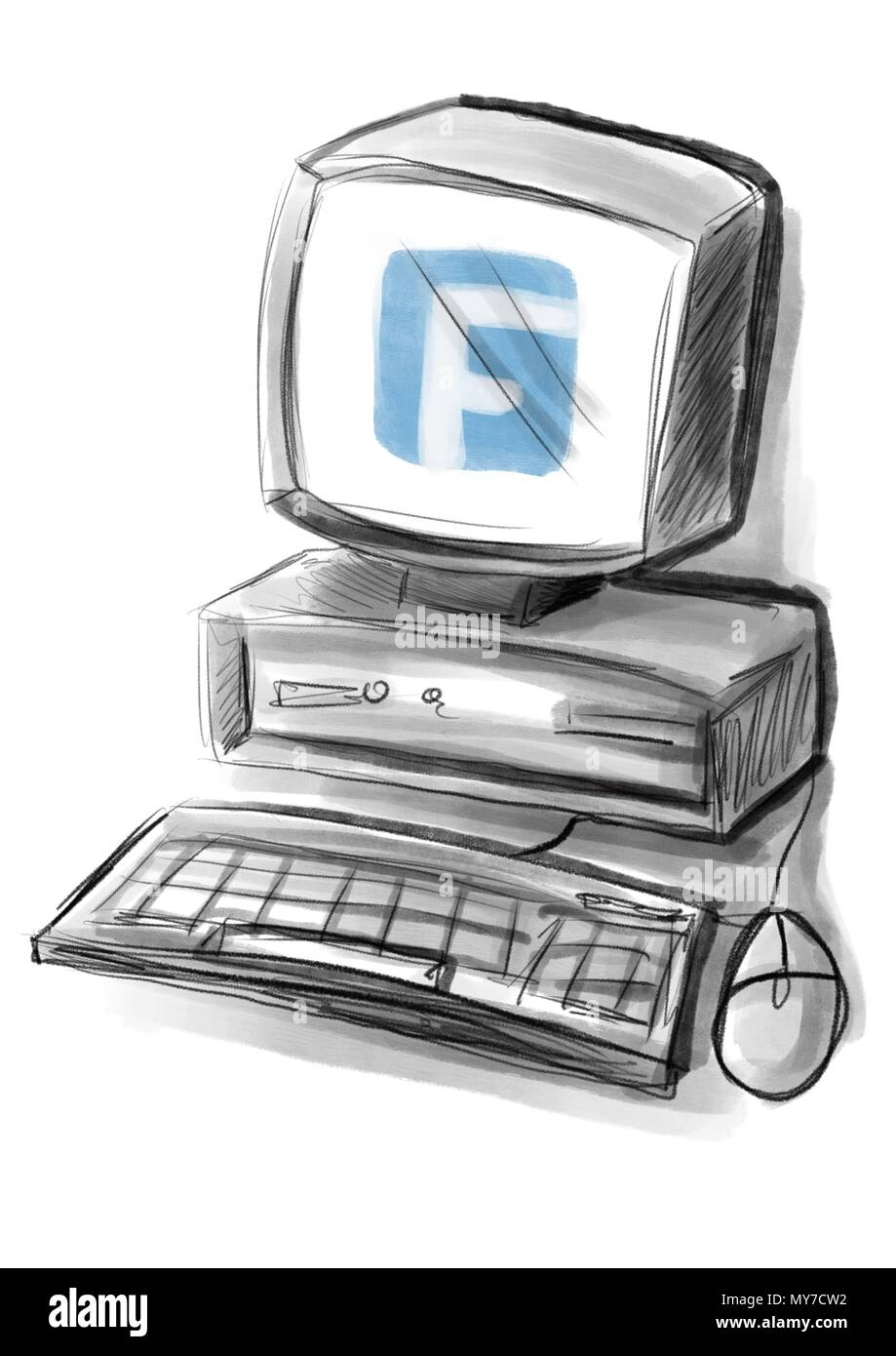 a computer illustration with the facebook logo on the screen - Stock Image