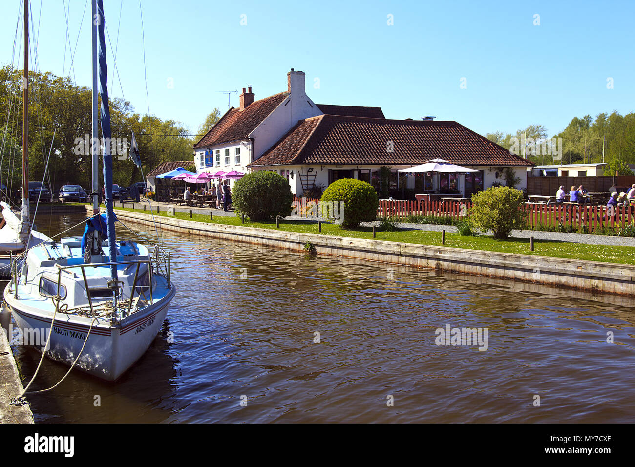 Boat Moorings by The Pleasure Boat Inn on Hickling Broad, Norfolk - Stock Image