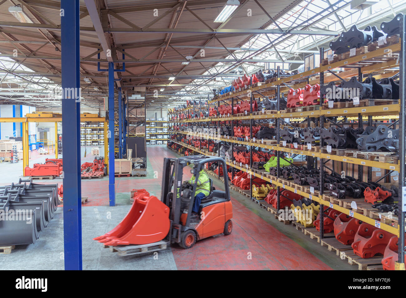 Forklift in dispatch department in engineering factory - Stock Image