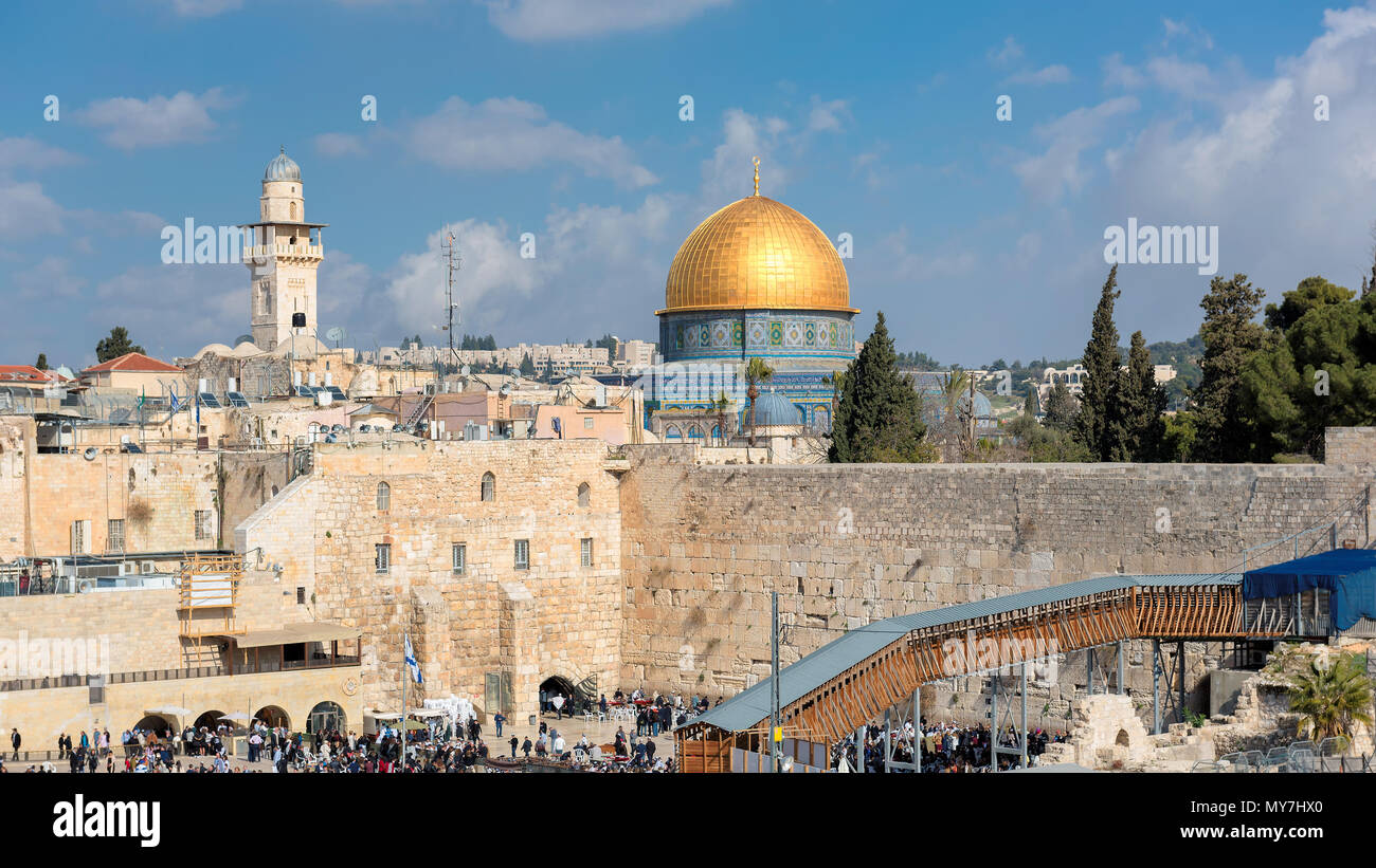 A view of Temple Mount in the old city of Jerusalem, Israel - Stock Image