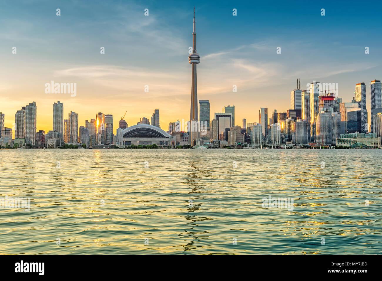 Toronto City skyline at sunset in Toronto, Ontario, Canada. - Stock Image