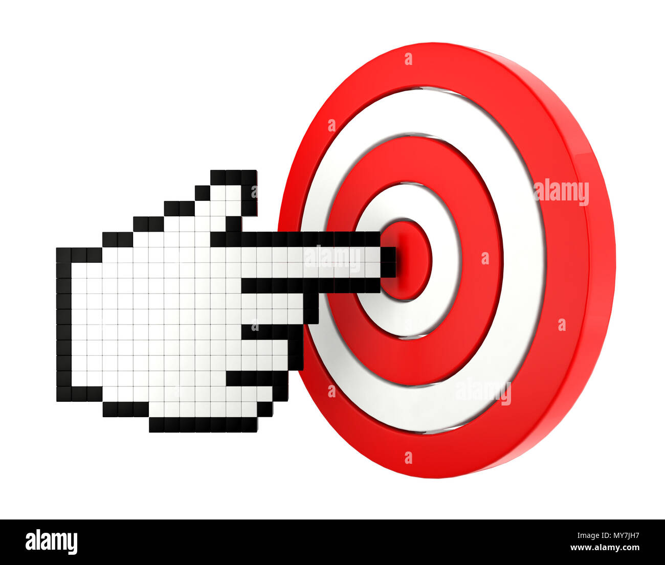 Set icon of mouse finger cursor pointing at the target - Stock Image