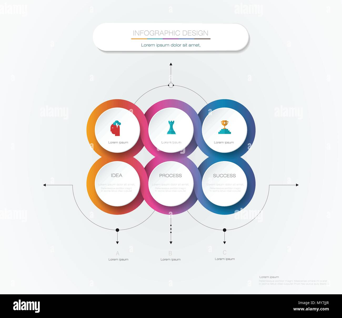 vector infographic 3d circle label template design infograph with 6