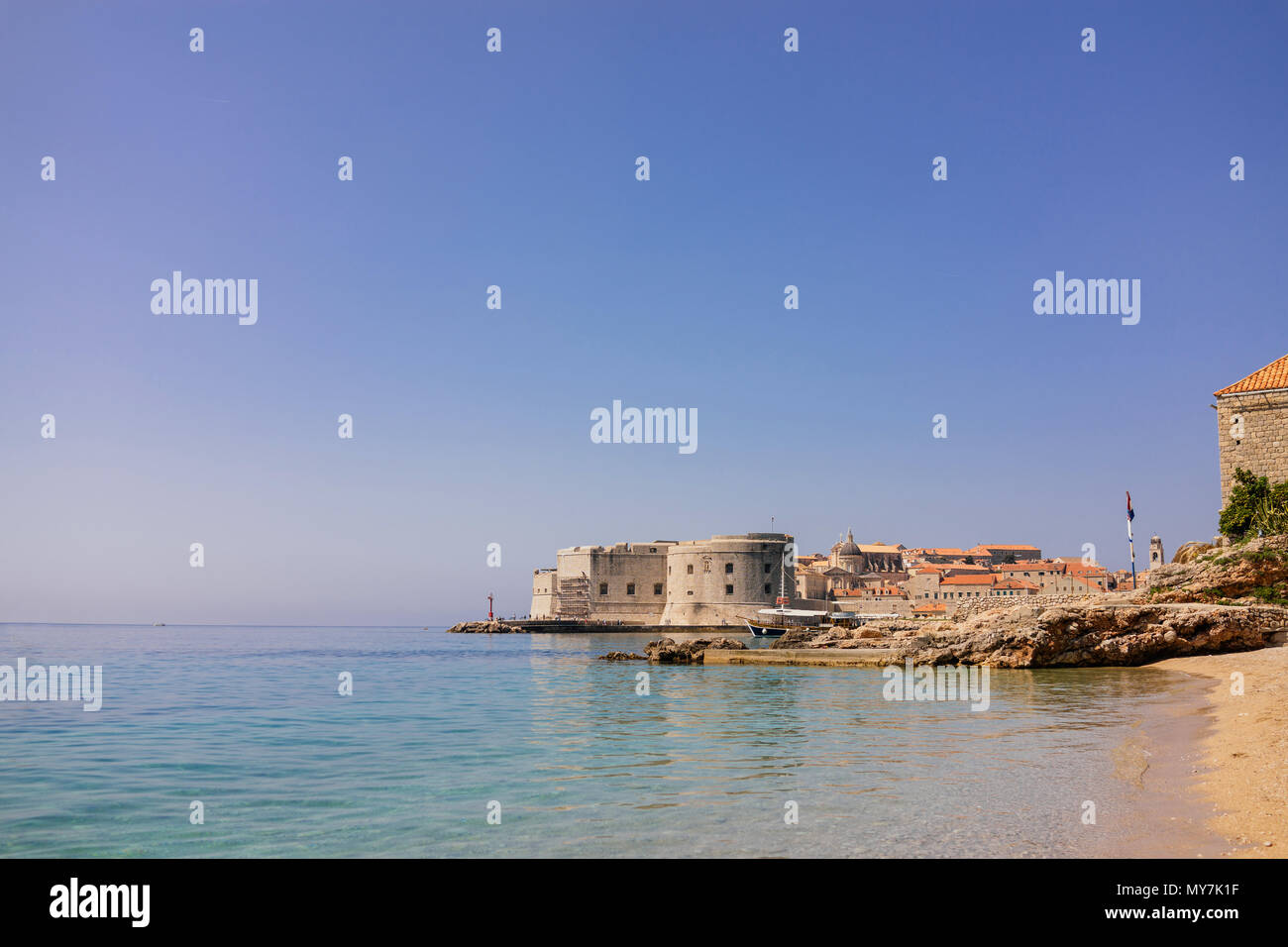 City of Dubrovnik, Croatia. View from Banje beach - Stock Image