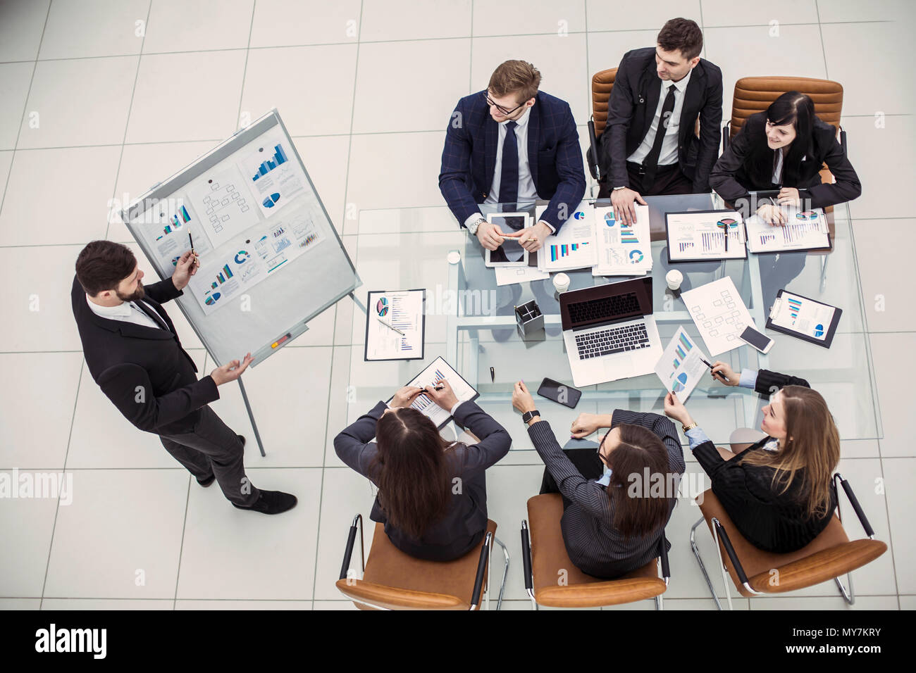 professional business team at presentation of new project in the office - Stock Image