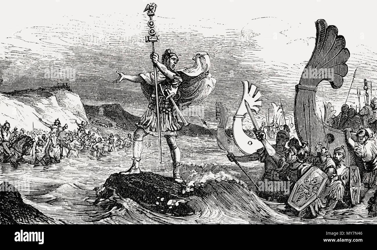 Gaius Julius Caesar, 100 - 44 BC, Roman statesman, invading Britain in 55 BC - Stock Image