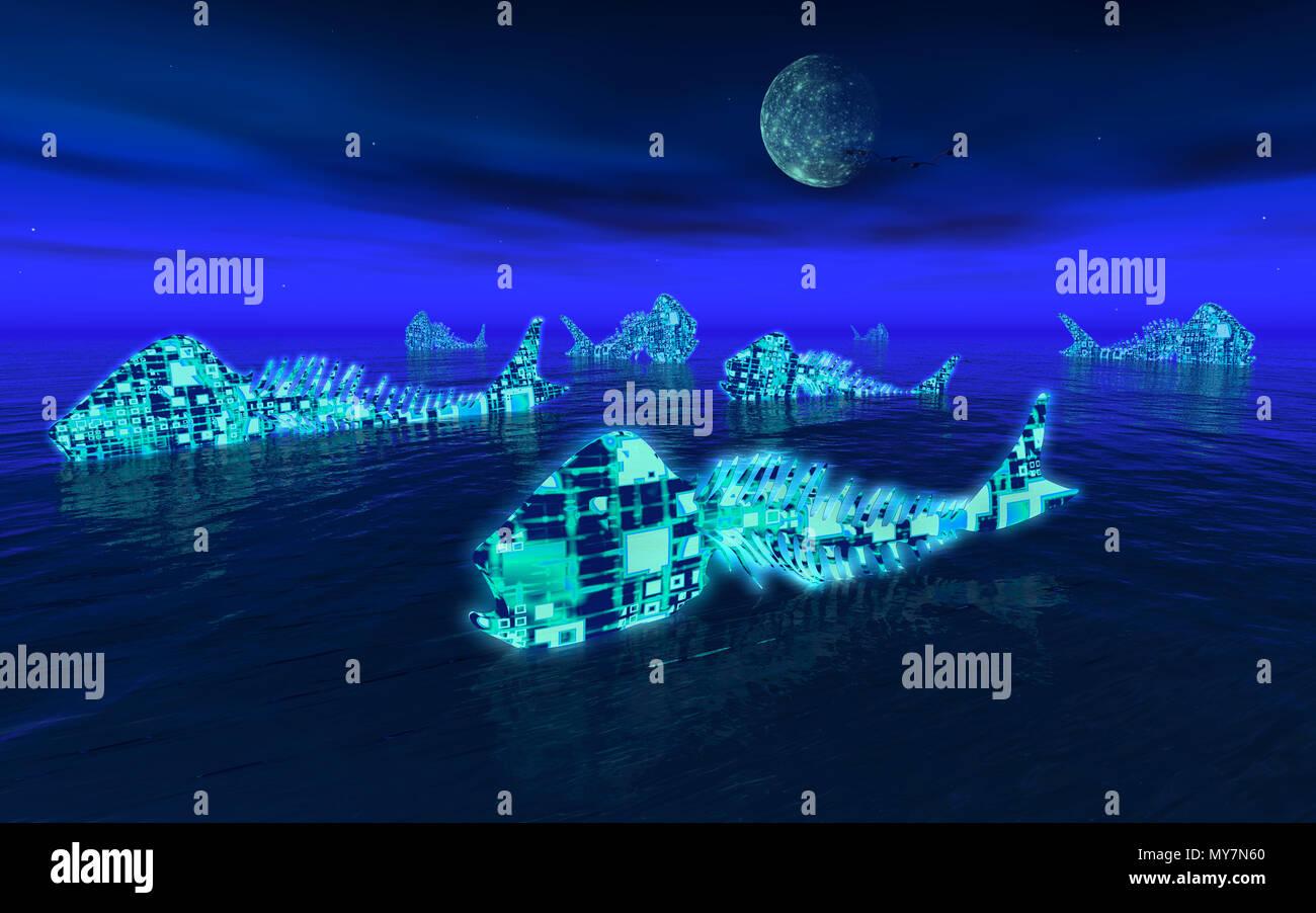 Neon Fish - Stock Image