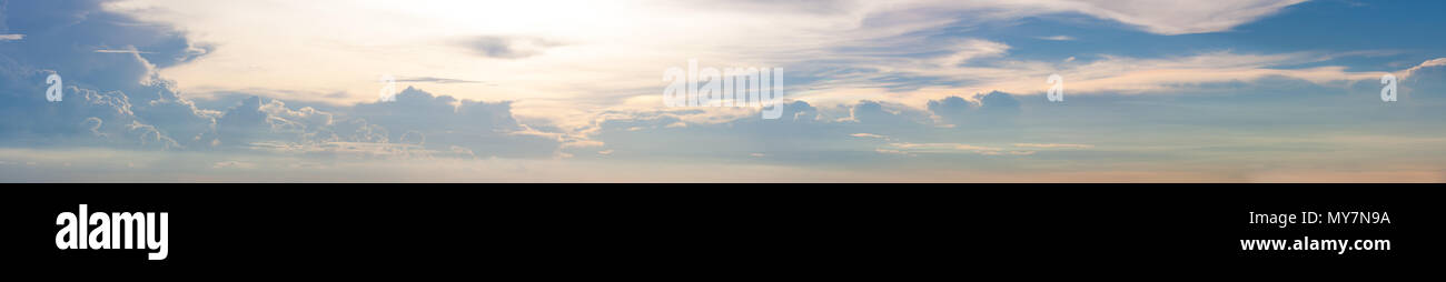Wide Range view of sky with cloud and sun light - Stock Image