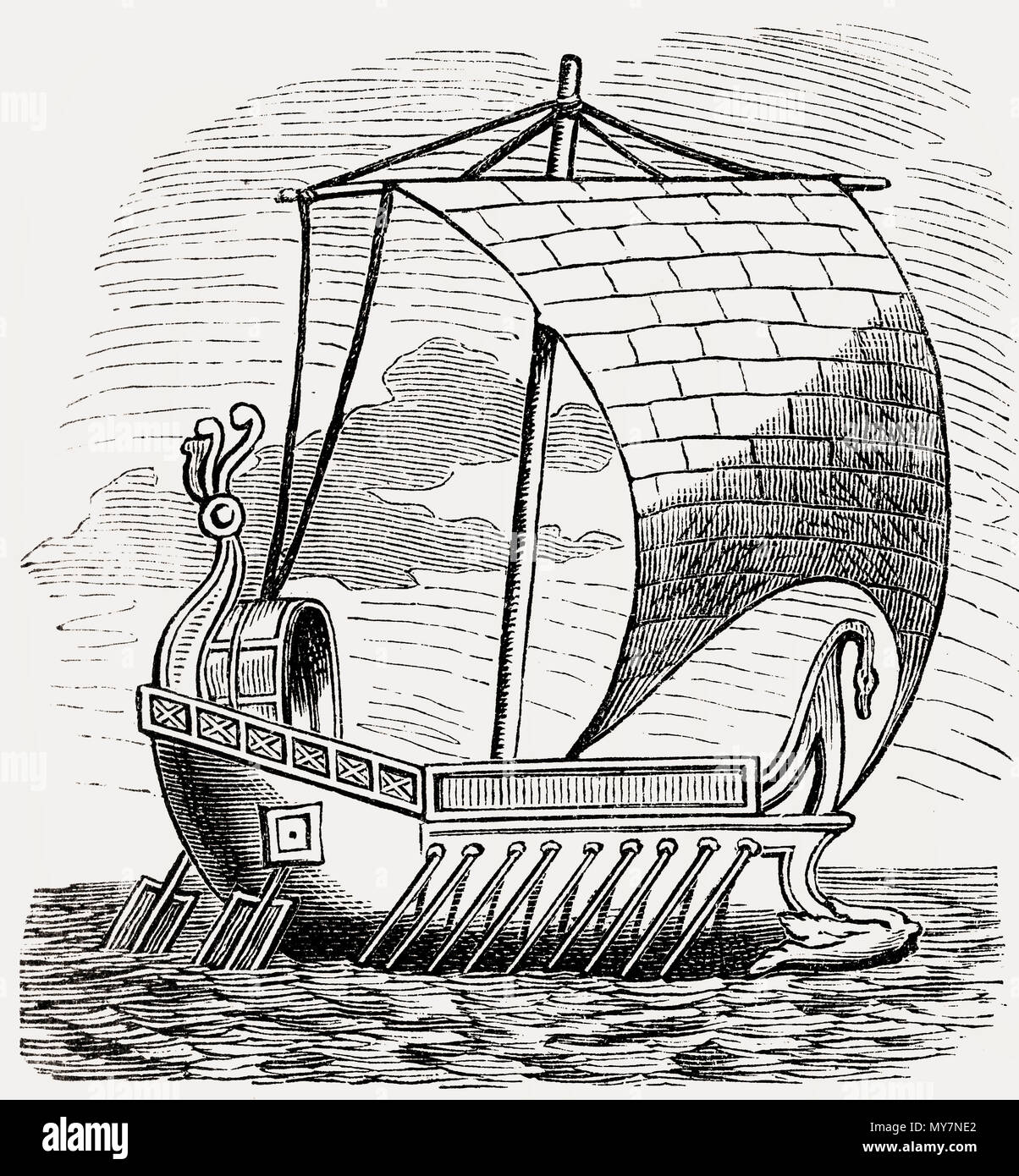 A scapha, ancient  Roman ship - Stock Image